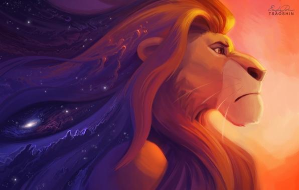 Картинка взгляд, звезды, мультфильм, лев, арт, art, stars, король, Lion King