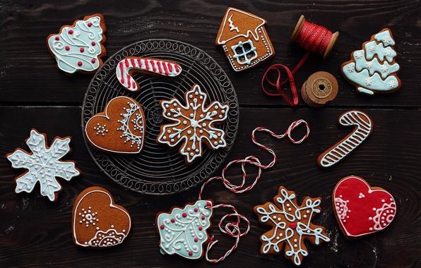 Картинка зима, снежинки, Новый Год, печенье, Рождество, сердечки, домик, фигурки, выпечка, праздники, елочка, глазурь, новогоднее