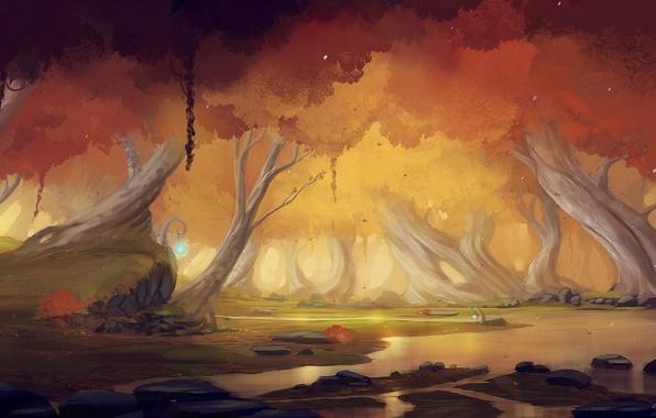 Картинка осень, лес, пейзаж, река, камни, арт, светильники, blinck