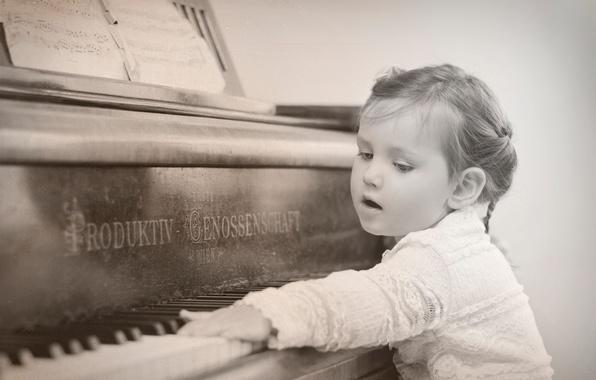 Картинка клавиши, девочка, пианино