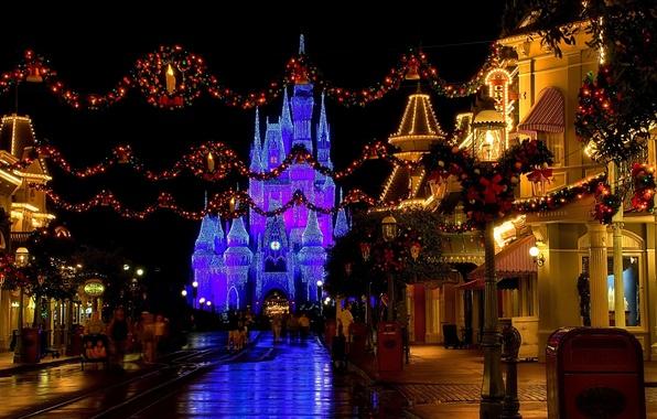 Картинка украшения, огни, замок, улица, вечер, Рождество, USA, Диснейленд, Christmas, street, castle, Disneyland, новогодние, christmas decoration, …