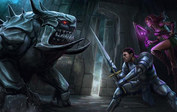 Картинка девушка, оружие, монстр, меч, арт, посох, битва, парень