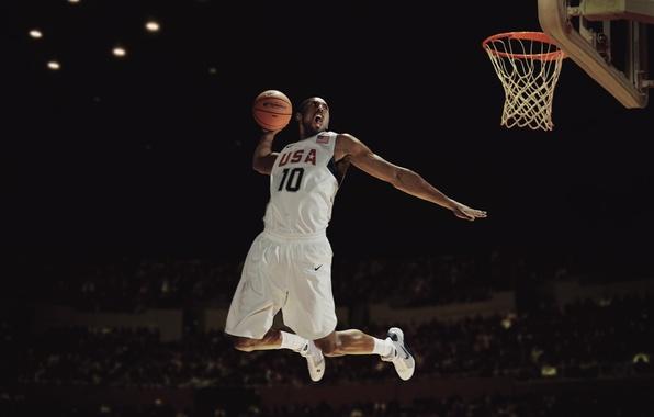 Картинка Баскетбол, USA, Nike, Kobe Bryant, Сборная, Slam Dunk, Зависание, Игрок