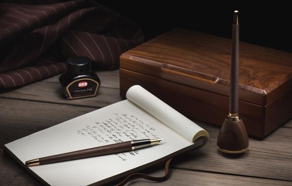 Картинка перо, ручка, блокнот, чернила