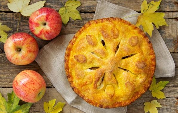 Картинка осень, листья, яблоки, еда, пирог, фрукты, десерт, выпечка