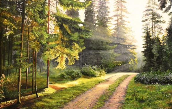 Картинка дорога, лес, лучи, пейзаж, рассвет, картина, утро, живопись, пробуждение, Луценко