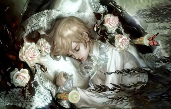 Картинка бабочки, цветы, розы, сказка, свечи, fantasy, art, butterfly, flowers, candles, fairytale, sleeping boy, спящий мальчик, …