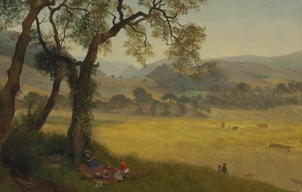 Картинка пейзаж, картина, Альберт Бирштадт, Золотой Летний День возле Окленда
