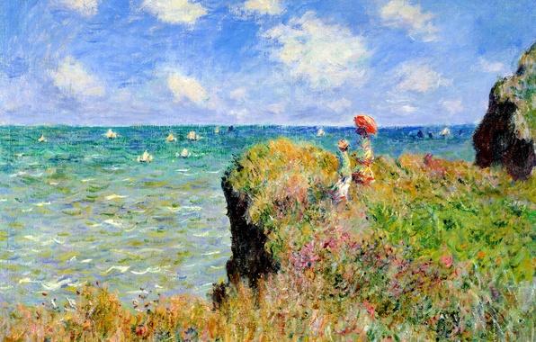 Картинка море, трава, пейзаж, цветы, скалы, лодка, картина, парус, Клод Моне