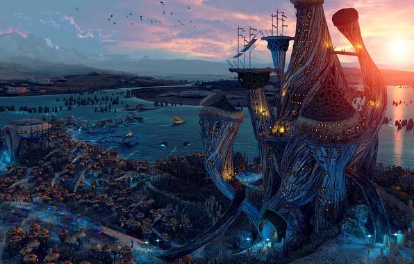 Картинка город, река, башня, дома, корабли, арт, Morrowind, lelek1980