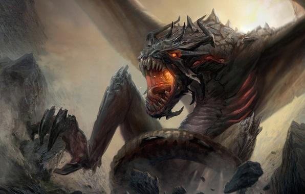 Картинка горы, скалы, дракон, крылья, монстр, арт, ярость, пасть