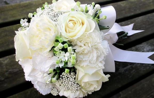 Картинка фото, Цветы, Белый, Букет, Розы, Гвоздики, Гортензия