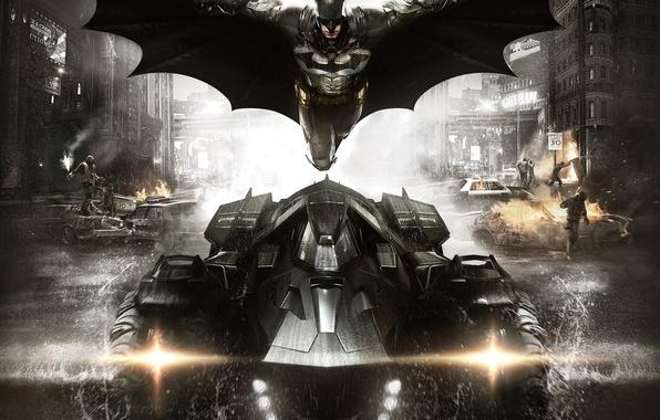 Картинка машины, город, сталь, дым, дома, полёт, броня, боец, плащ, экипировка, защитник, Брюс Уэйн, Бэтмобиль, Bruce …