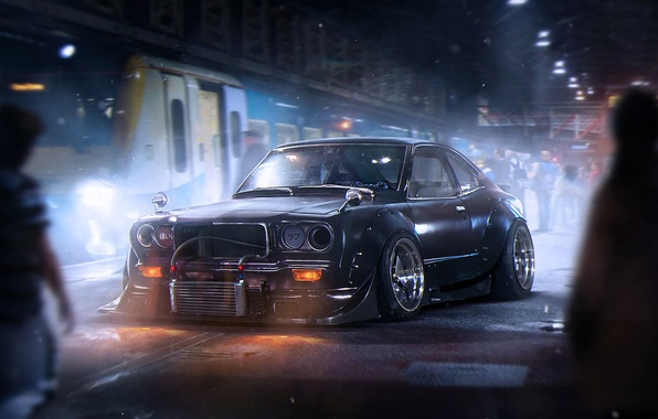 Картинка Dark, Mazda, Black, Tuning, Future, Savanna, by Khyzyl Saleem, RX-3