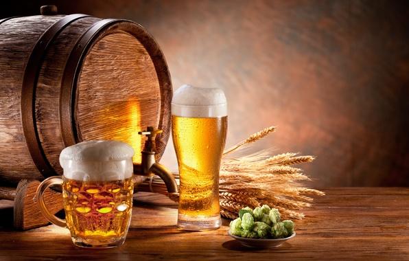 Картинка пена, бокал, пиво, кружка, колосья, бочка, солод, светлое, хмель
