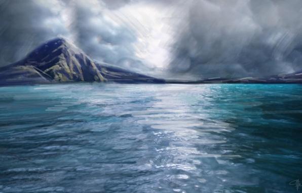 Картинка море, небо, тучи, отражение, океан, ландшафт, остров, арт, живопись