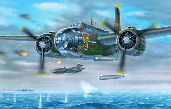 Картинка море, небо, война, атака, корабли, арт, торпеда, самолёты, немецкие, советские, ИЛ-4Т, торпедоносцы