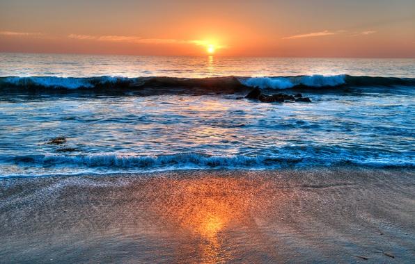 Картинка море, небо, облака, закат, волна, сша, California, Laguna Beach