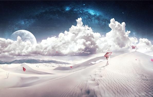 Картинка девушка, облака, барханы, путь, дерево, ветер, пустыня, звёзды, зонт, лепестки, desktopography