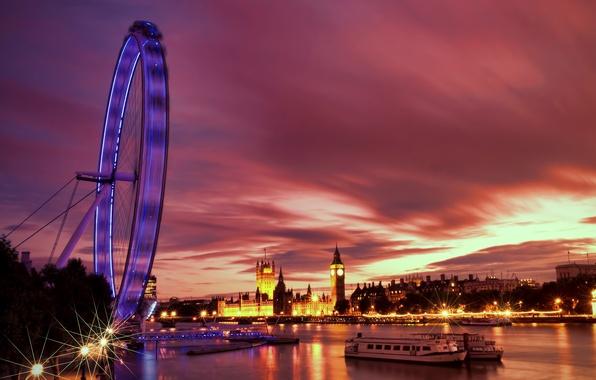 Картинка огни, река, Англия, Лондон, вечер, подсветка, Великобритания, Темза, архитектура, набережная, river, столица, London, England, London …