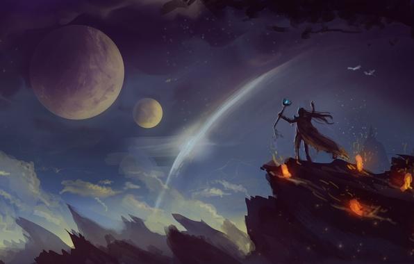 Картинка небо, скала, фантастика, огонь, человек, планета, арт, лава, посох
