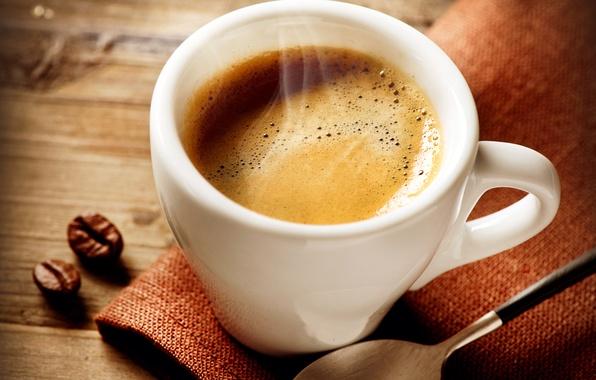 Картинка кофе, ложка, кофейные зерна, салфетка