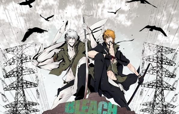 Картинка парень, мечи, bleach, anime, kurosaki ichigo, art, пустой