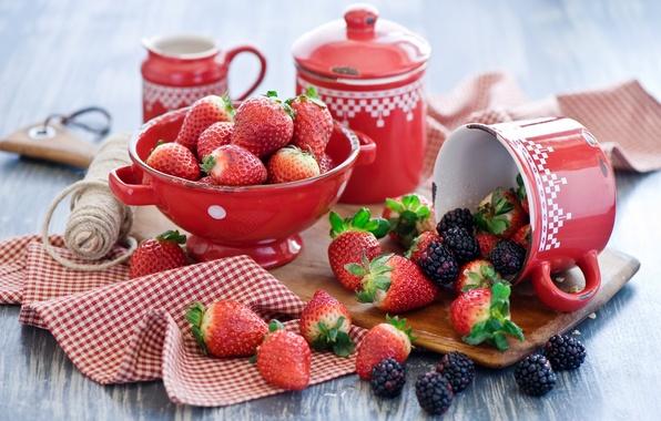 Картинка лето, ягоды, клубника, посуда, ежевика