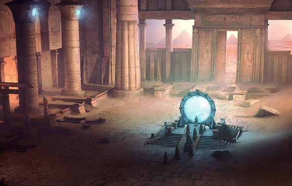 Картинка песок, люди, Stargate, арт, колонны, храм, пирамиды, руины, врата, David Munoz Velazquez