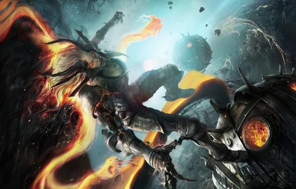 Картинка взгляд, девушка, фантастика, демон, арт, рога, агрессия