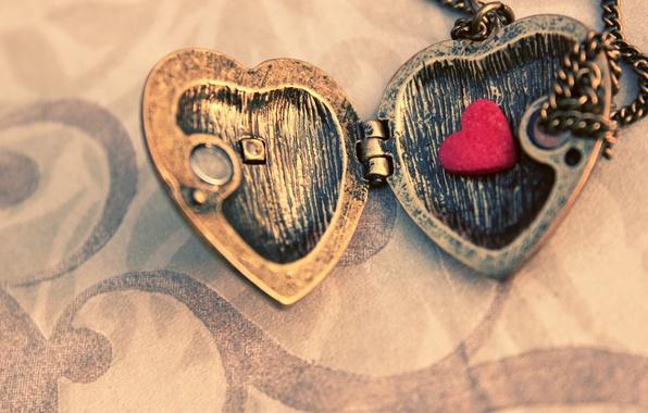 Картинка макро, металл, кулон, цепочка, сердечко, подвеска, створки