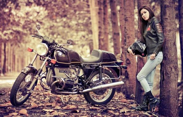 Картинка девушка, BMW, мотоцикл