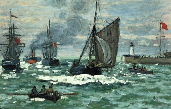Картинка море, лодка, маяк, корабль, картина, парус, морской пейзаж, Клод Моне, Вход в Порт Онфлёра
