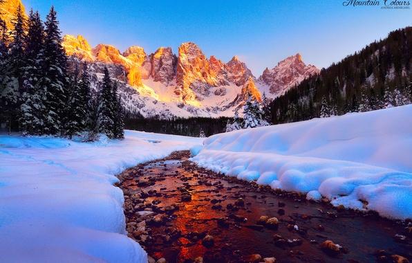 Картинка лес, небо, свет, снег, горы, река, вершины, Доломитовые Альпы