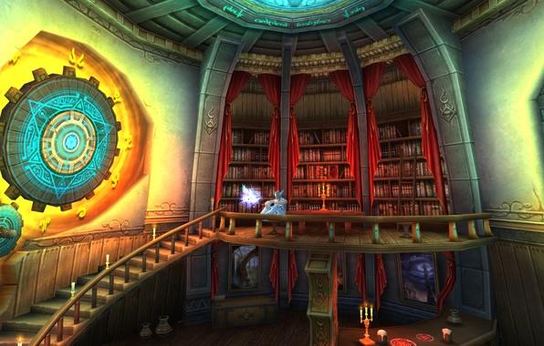 Картинка магия, эльф, книги, свечи, фэнтези, арт, лестница, библиотека, Fantasy, magic, art, elf, candles, books, stairs, …