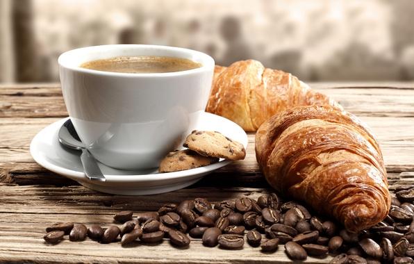 Картинка кофе, печенье, кофейные зерна, coffee, круассаны, biscuits, coffee beans, croissants