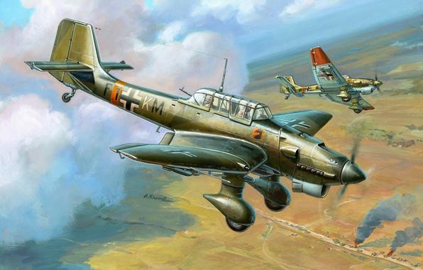 Картинка самолет, рисунок, штука, пикирующий бомбардировщик, Junkers, Sturzkampfflugzeug, Luftwaffe, люфтваффе, Ju 87, юнкерс, Stuka, Жирнов, 7./St.G ...