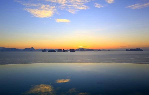 Картинка небо, вода, облака, горы, скалы, Бассейн, горизонт