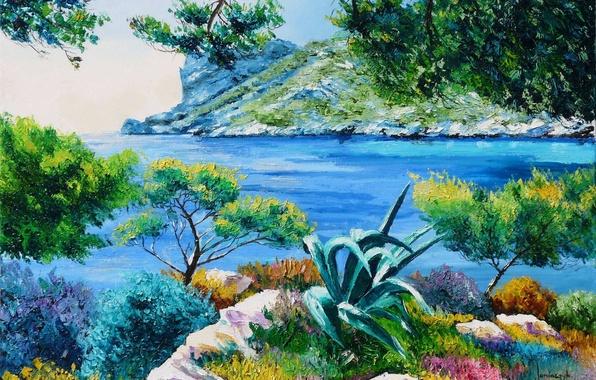 Картинка море, острова, деревья, пейзаж, ветки, камни, берег, картина, арт, лагуна, Jean-Marc Janiaczyk