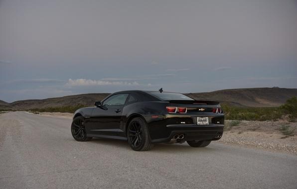 Картинка дорога, трава, чёрный, склон, wheels, шевроле, black, camaro, вид сзади, chevrolet, камаро, zl1, чёрные диски, …