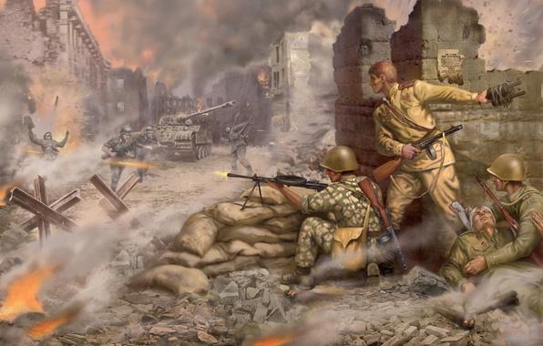Картинка город, война, арт, ссср, Пантера, танк, war, немцы