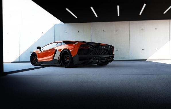Картинка красный, фон, тюнинг, Lamborghini, суперкар, вид сзади, tuning, Corsa, Ламборгини, Aventador, Авентадор, Limited Edition, RENM