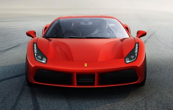 Картинка красный, Ferrari, суперкар, феррари, 2015, 488 GTB