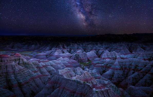 Картинка небо, звезды, пейзаж, горы, ночь, природа, парк, Китай, Данься, Danxia Landform