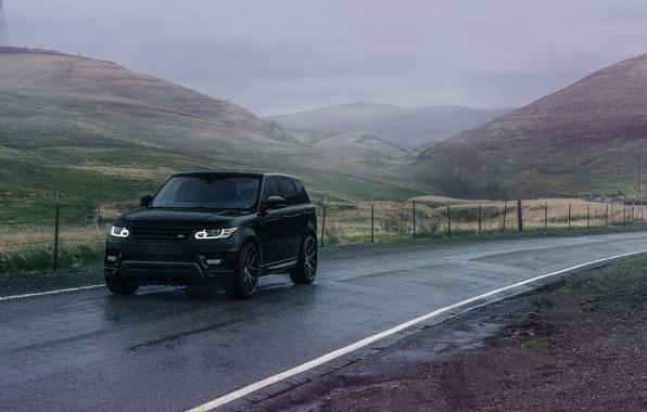 Картинка Land Rover, Range Rover, Front, Black, Sport, Road, Wheels, Avant, Garde