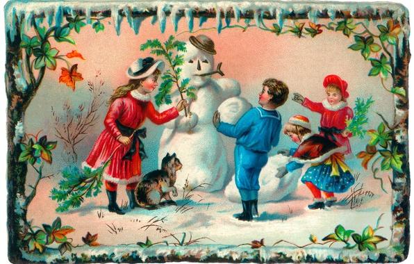 Картинка зима, кошка, дети, девочки, мальчик, снеговик, открытка