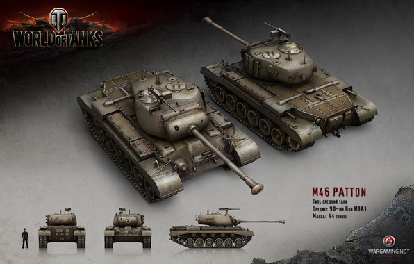 Картинка танк, USA, США, Америка, танки, рендер, WoT, World of Tanks, Wargaming.net, M46 Patton