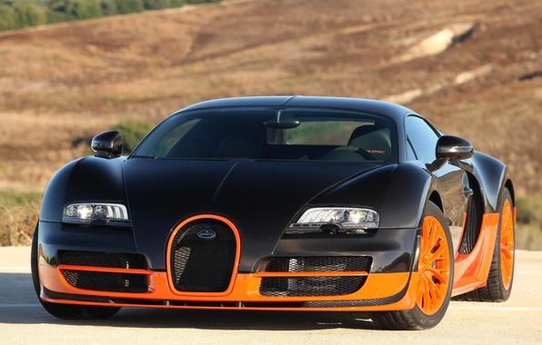 Картинка суперкар, Bugatti Veyron, black, Super Sport, orange, гиперкар, 16.4, быстрый