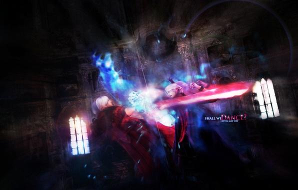 Картинка огни, готика, пистолеты, меч, демон, револьвер, Dante, Данте, DMC 4, Capcom, Красная Королева, Неро, Devil …