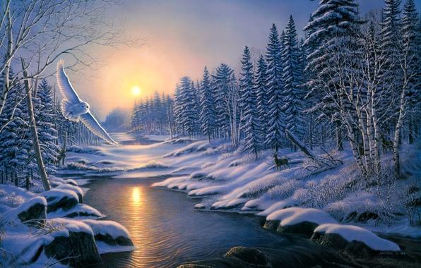 Картинка зима, лес, животные, снег, закат, природа, река, сова, ели, ice, живопись, олени, берёзы, trees, nature, …
